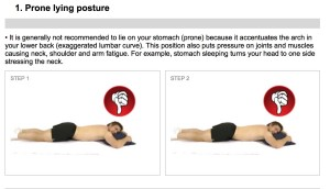 Sleeping on the tummy can strain the neck and the lower back