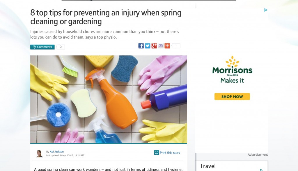 Interesting article where BT quote my views on Spring cleaning injury